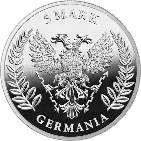 2020 Germania 1 Ounce Lady Germania 5 Marks Silver Proof Round