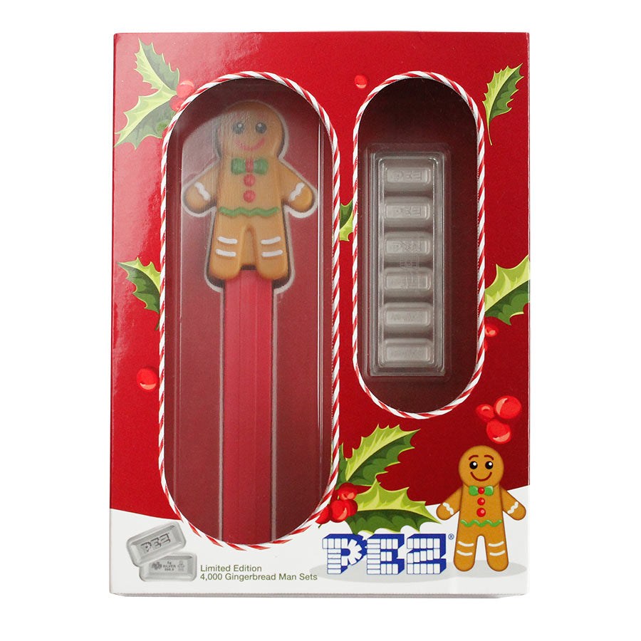 2020 30 Gram PAMP Suisse PEZ Gingerbread Man Candies & Dispenser Silver Wafers