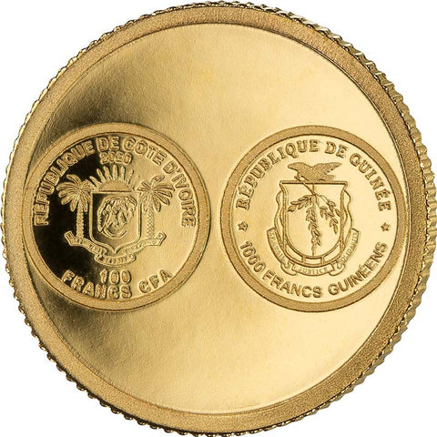 2020 African Pride 14 Nation 7 X 1/2 Gram .9999 Gold Coin Ivory Coast Guinea