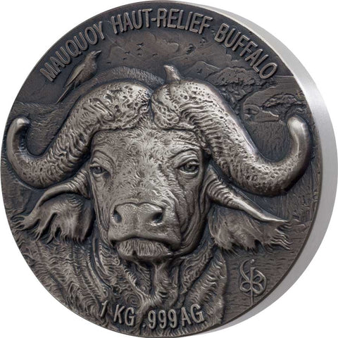 2020 Ivory Coast 1 Kilogram African Big 5 Water Buffalo Mauquoy Ultra High Relief Silver Coin