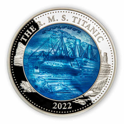 2022 COOK ISLANDS 5 OUNCE RMS TITANIC MOTHER OF PEARL SILVER PROOF COIN