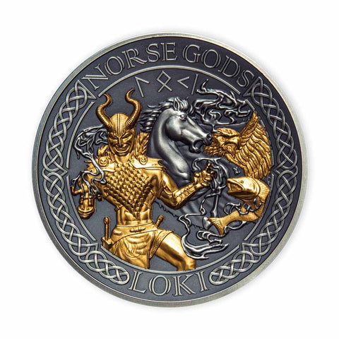 2022 COOK ISLANDS 2 OUNCE NORSE GODS LOKI HIGH RELIEF GOLD PLATED ANTIQUE FINISH SILVER COIN