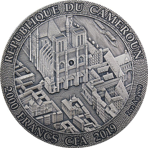 2019 Cameroon 2 Ounce Notre Dame de Paris Antique Finish Silver Coin