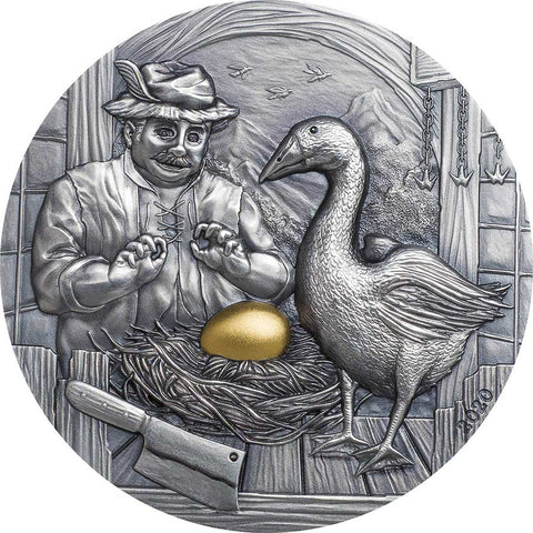 2020 Palau 2 Ounce The Goose that Laid the Golden Eggs Antique Finish Silver Coin