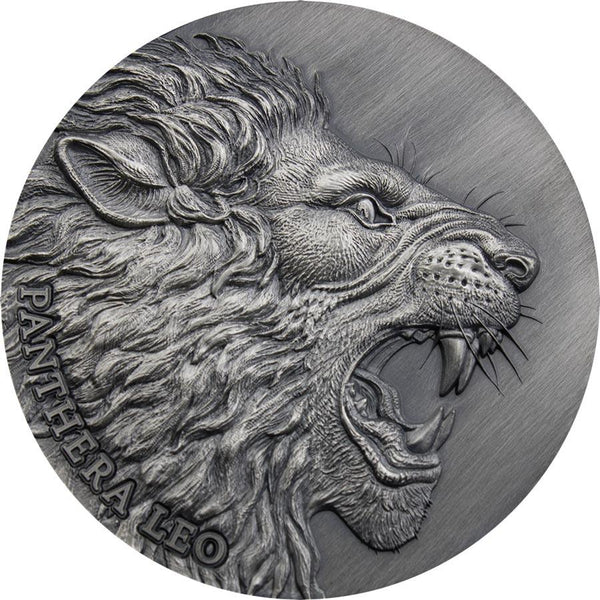2020 CAMEROON 2 OUNCE PANTHERA LEO EXPRESSIONS OF WILDLIFE HIGH RELIEF ANTIQUE FINISH SILVER COIN