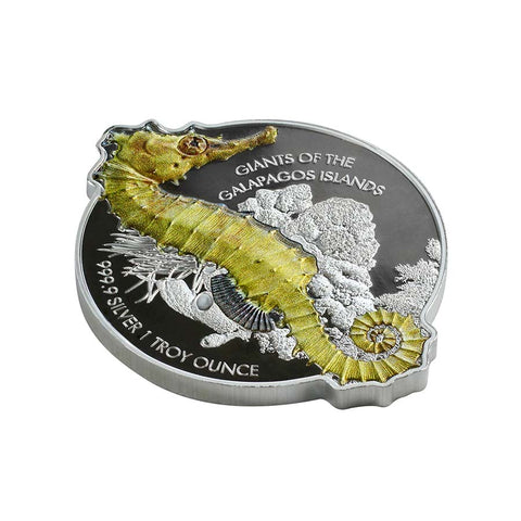 2020 Solomon Islands 1 Ounce Giants of the Galapagos Seahorse Silver Coin