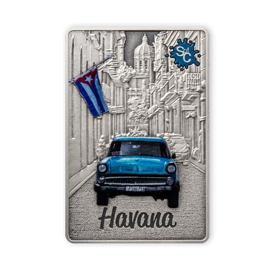 2021 Samoa 2 Ounce Havana City Edition Splash of Color Silver Coin