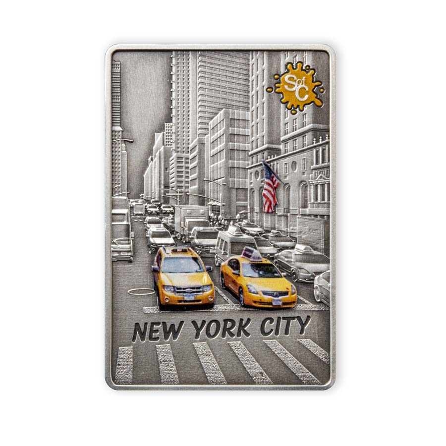 2021 Samoa 2 Ounce New York City Edition Splash of Color Silver Coin