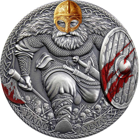 2020 Cameroon 3 Ounce Legendary Warriors Viking Axeman High Relief Antique Finish Silver Coin