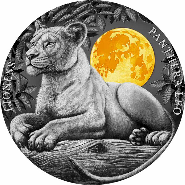 2021 NIUE 2 OUNCE LIONESS HIGH RELIEF GILDED ANTIQUE FINISH SILVER COIN