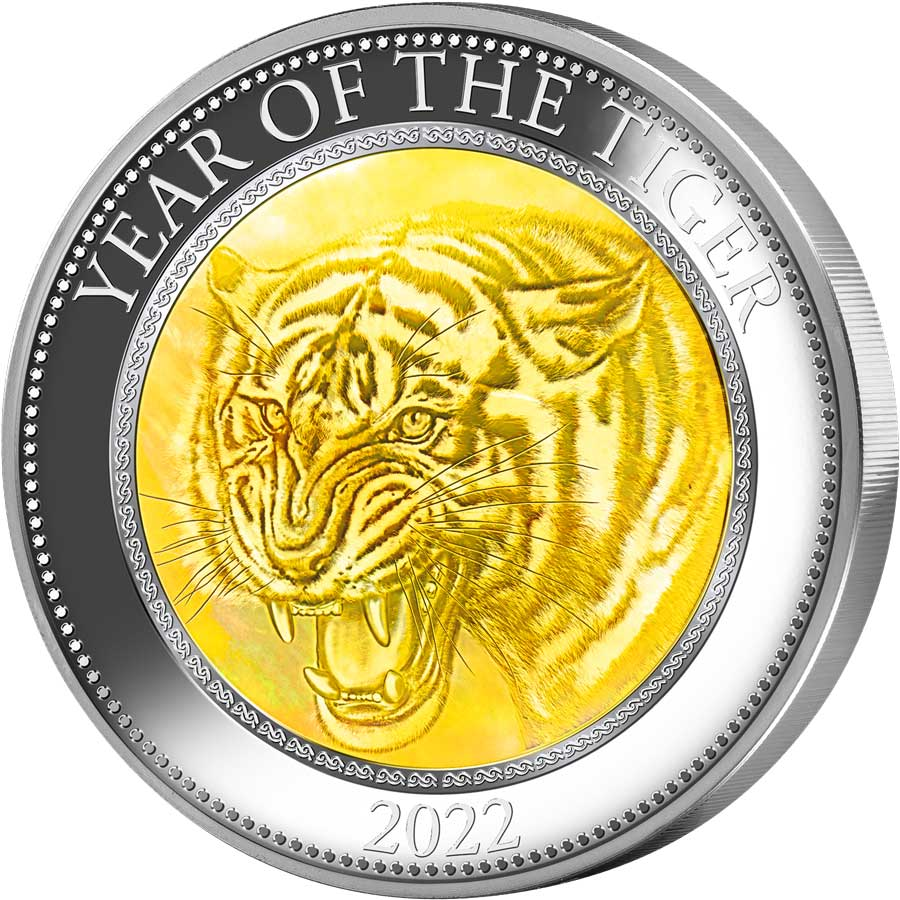 2022 Cook Islands 5 Ounce Lunar Year of the Tiger Mother of Pearl Silver Proof Coin