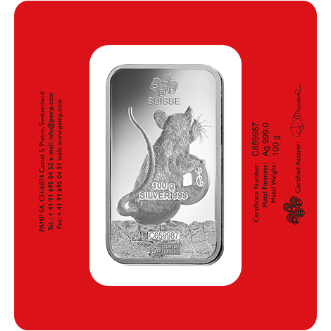 2020 PAMP 100 Gram Lunar Year Of The Rat Minted Silver Ingot