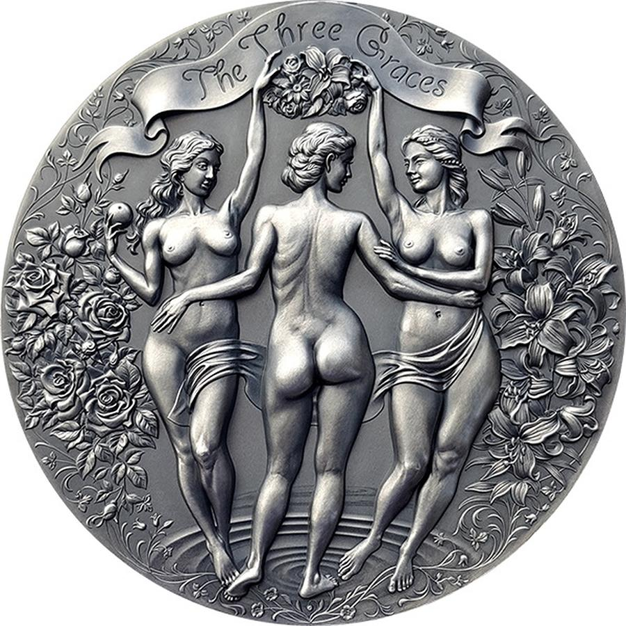 2020 Cameroon 2 Ounce Three Graces Celestial Beauty High Relief Antique Finish Silver Coin