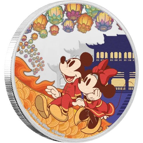 2020 Niue 1 Ounce Disney Year of the Mouse - Happiness Color Silver Proof Coin