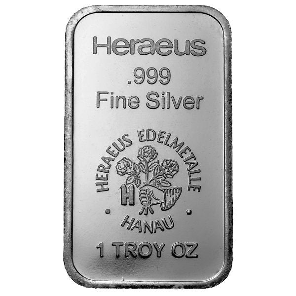 1 Ounce Heraeus .999 Silver Bar