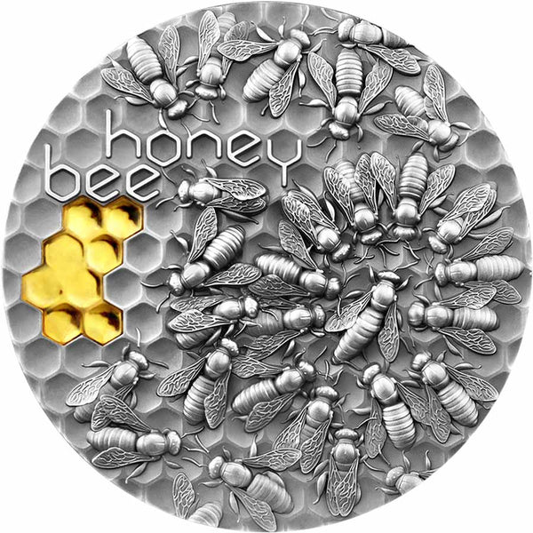 2021 NIUE 2 OUNCE HONEY BEE HIGH RELIEF GILDED ANTIQUE FINISH SILVER COIN