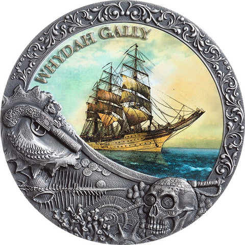 2019 Niue 2 Ounce Whydah Gally Grand Shipwrecks Colored High Relief Silver Coin