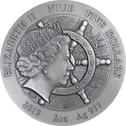 2019 Niue 2 Ounce Whydah Gally Grand Shipwrecks High Relief Silver Coin