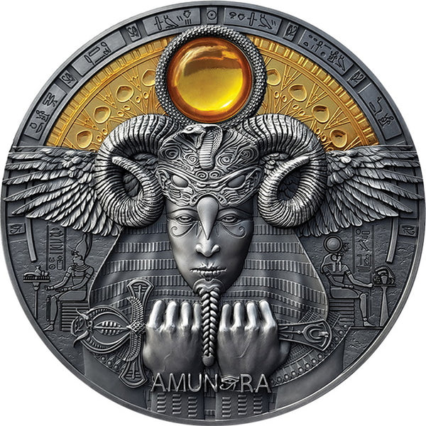 2020 Niue 3 Ounce Amun-Ra Divine Faces of the Sun Antique Finish Silver Coin