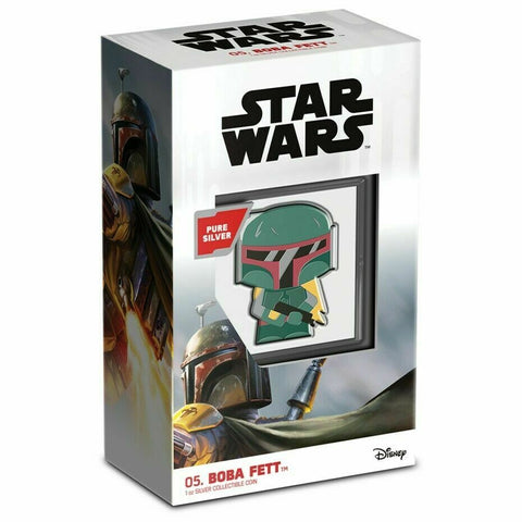 Chibi Boba Fett Star Wars Series Color Silver Proof Coin