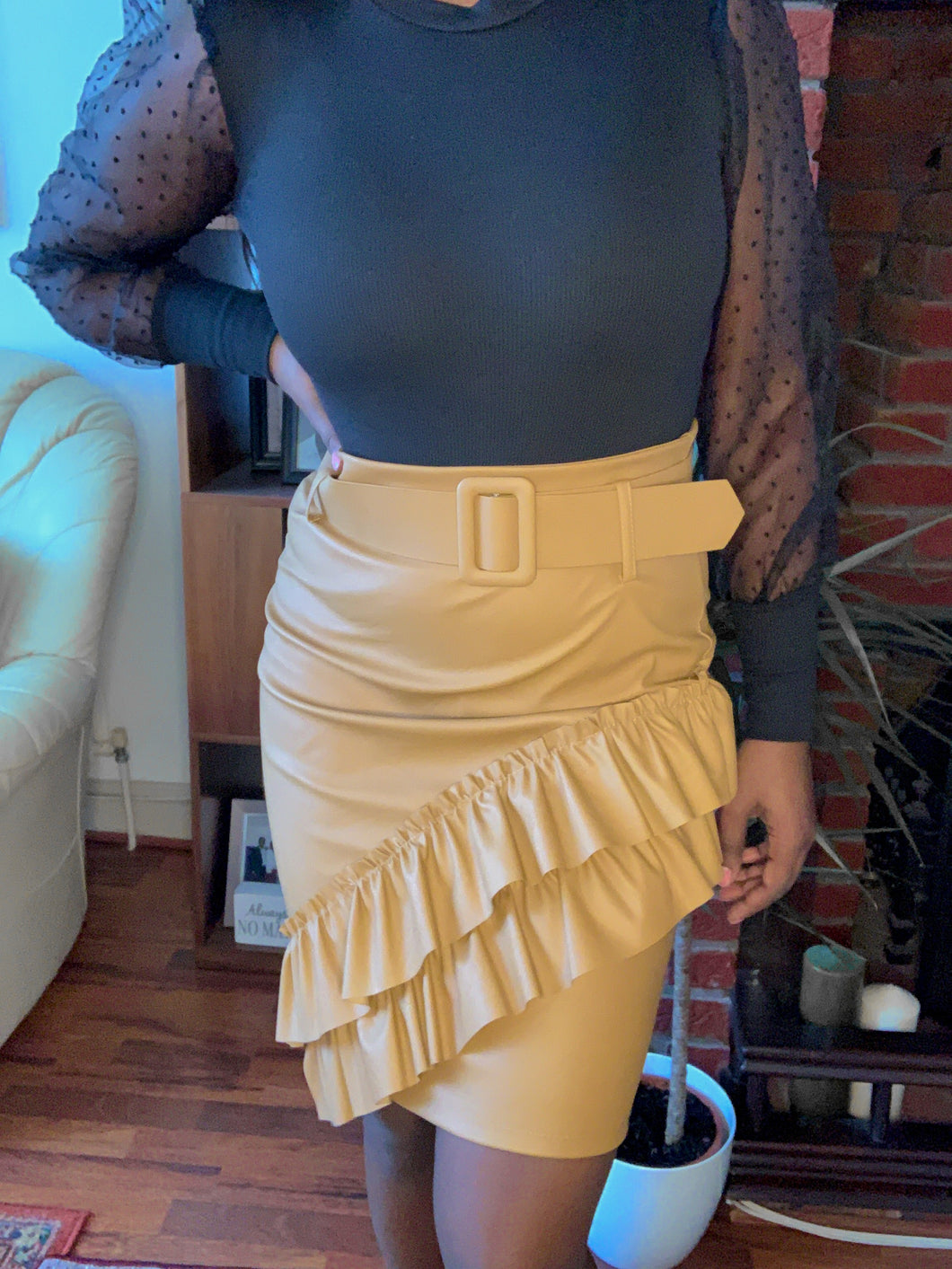 RILEY leatherette tan skirt