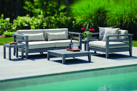 Seaside Casual Cambridge Deep Seating Sectional Corner with Sunbrella Cushion — Please call (970) 235-1495 for estimated delivery dates