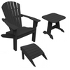 Image of Seaside Casual 3-Piece Shellback Adirondack Chair, Footrest, and Side Table Set — Please call (970) 235-1495 for estimated delivery dates