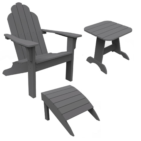 Seaside Casual 3-Piece Classic Adirondack Chair, Footrest, and Side Table Set — Please call (970) 235-1495 for estimated delivery dates
