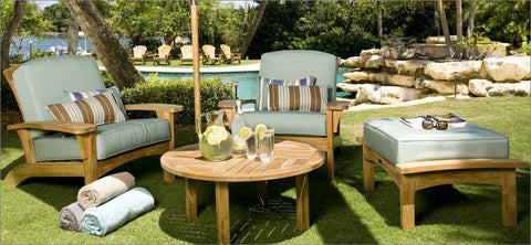 Douglas Nance Augusta Deep Seating Teak Ottoman with Sunbrella Cushion - [price] | The Adirondack Market