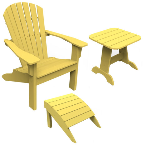 Seaside Casual 3-Piece Shellback Adirondack Chair, Footrest, and Side Table Set — Please call (970) 235-1495 for estimated delivery dates