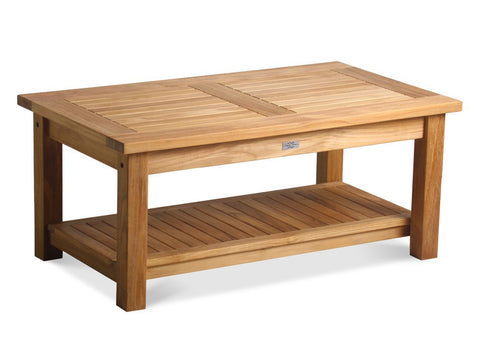 "Douglas Nance Classic 42"" Indonesian Teak Coffee Table with Shelf - [price] 