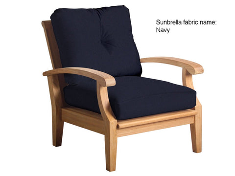 Douglas Nance Cayman Deep Seating Teak Club Chair with Sunbrella Cushions - [price] | The Adirondack Market