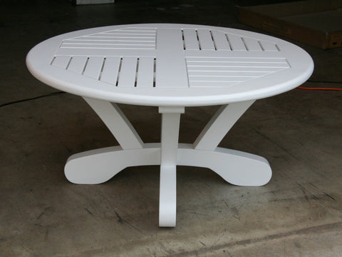 "Douglas Nance Cayman 36"" Round Acacia Conversation Table - White - [price] 