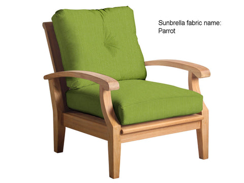 Douglas Nance Cayman Deep Seating Teak Club Chair with Sunbrella Cushions