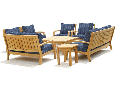 Douglas Nance Somerset Deep Seating Teak Loveseat with Sunbrella Cushions - [price] | The Adirondack Market