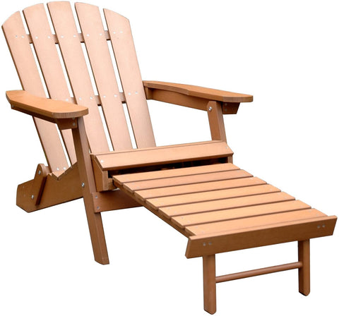 Merry Products Faux Wood Adirondack Chair with Ottoman