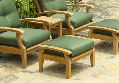 Douglas Nance Cayman Deep Seating Teak Ottoman with Sunbrella Cushion - [price] | The Adirondack Market