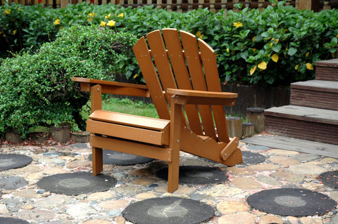 Merry Products Faux Wood Adirondack Chair with Ottoman - [price] | The Adirondack Market