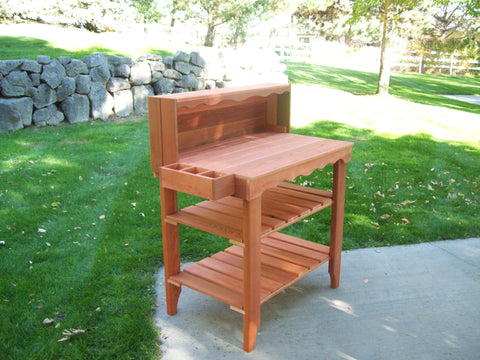 Wood Country Cedar Deluxe Potting Bench - [price] | The Adirondack Market
