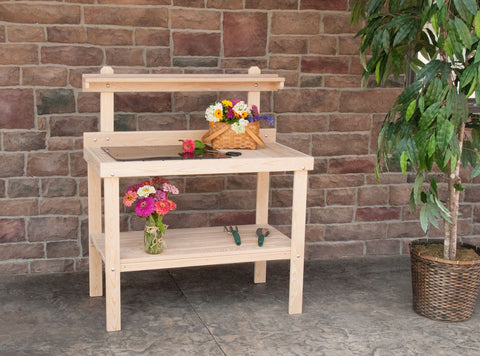 Hershy Way Cypress Outdoor Gardening and Potting Table - [price] | The Adirondack Market