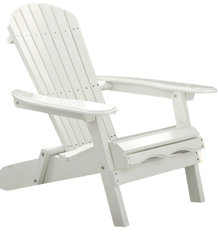 Merry Products White Acacia Folding Adirondack Chair - [price] | The Adirondack Market