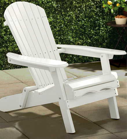 Merry Products White Acacia Folding Adirondack Chair