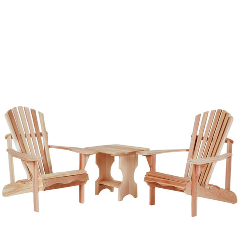All Things Cedar Three-Piece Adirondack Chair and Side Table Set - [price] | The Adirondack Market