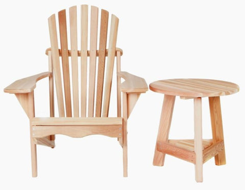 All Things Cedar Two-Piece Adirondack Chair and Tripod Table Set - [price] | The Adirondack Market