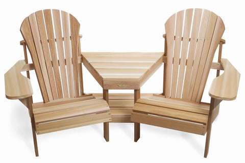 All Things Cedar Two-Chair Athena Adirondack Corner Set - [price] | The Adirondack Market