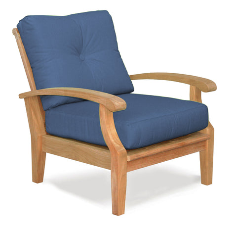 Douglas Nance Cayman Deep Seating Teak Club Chair with Sunbrella Cushions — In stock, order now!