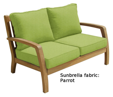 Douglas Nance Somerset Deep Seating Teak Loveseat with Sunbrella Cushions — In stock, order now!