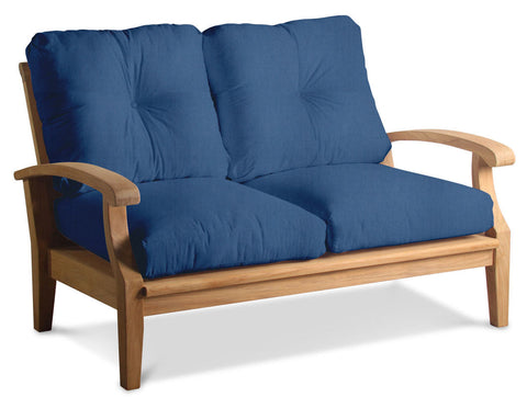 Douglas Nance Cayman Deep Seating Teak Loveseat with Sunbrella Cushions — In stock, order now!