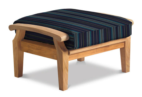 Douglas Nance Cayman Deep Seating Teak Ottoman with Sunbrella Cushion — In stock, order now!