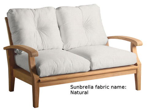 Douglas Nance Cayman Deep Seating Teak Love Seat with Sunbrella Cushions - [price] | The Adirondack Market